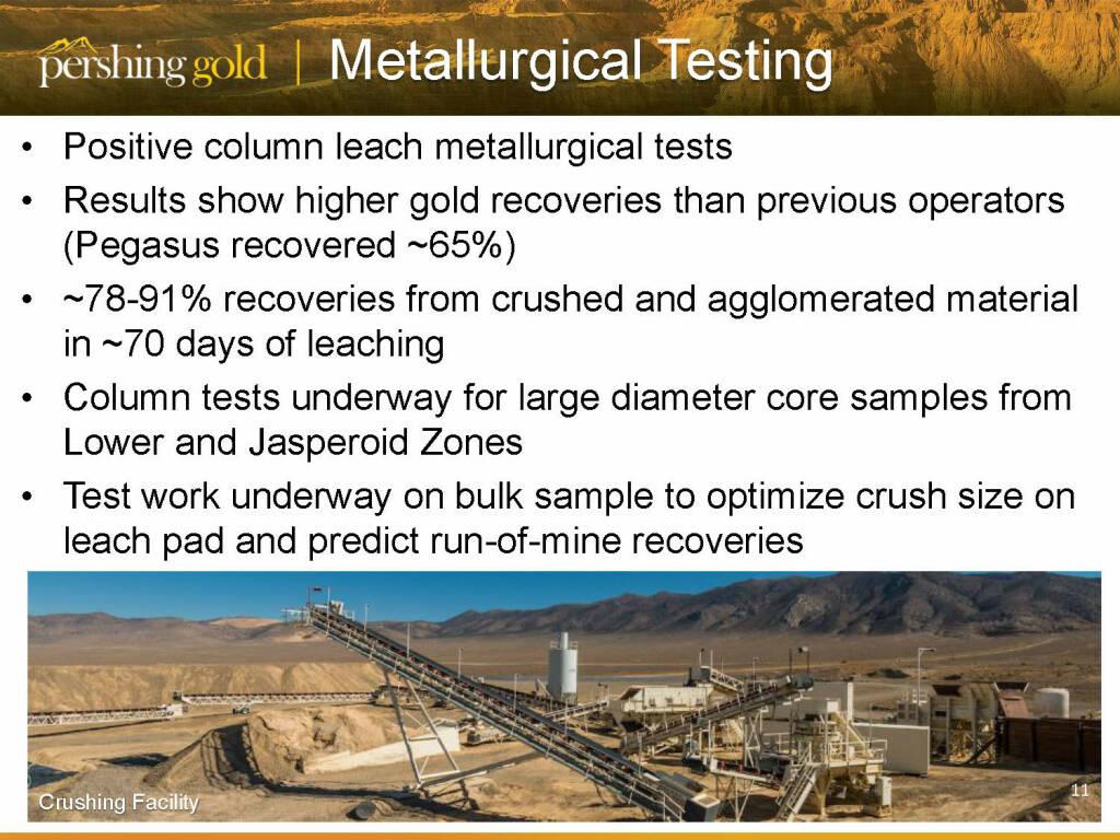Metallurgical testing - Pershing Gold (26.04.2015)