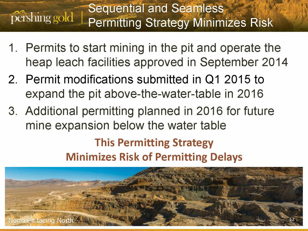 Sequential and seamless permitting strategy minimizes risk - Pershing Gold (26.04.2015)