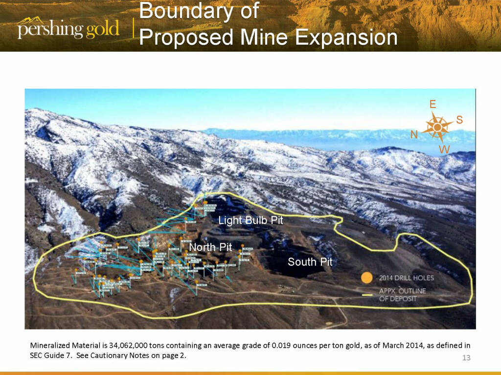 Boundary of proposed mine expansion - Pershing Gold (26.04.2015)