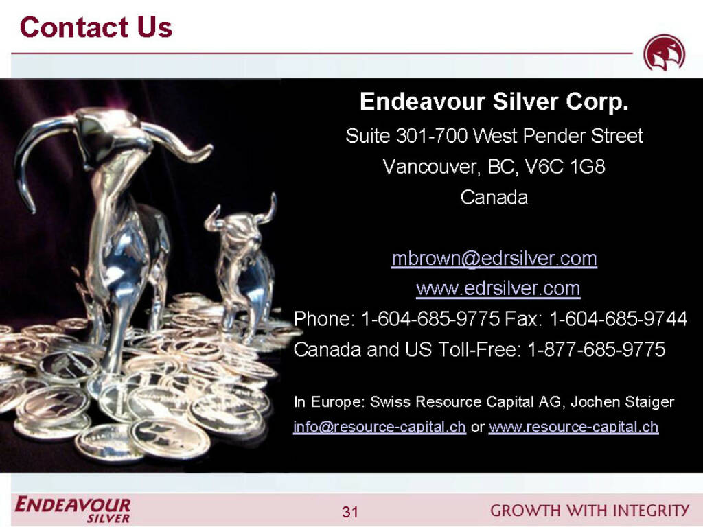 Contact Us  - Endeavour Silver (26.04.2015)