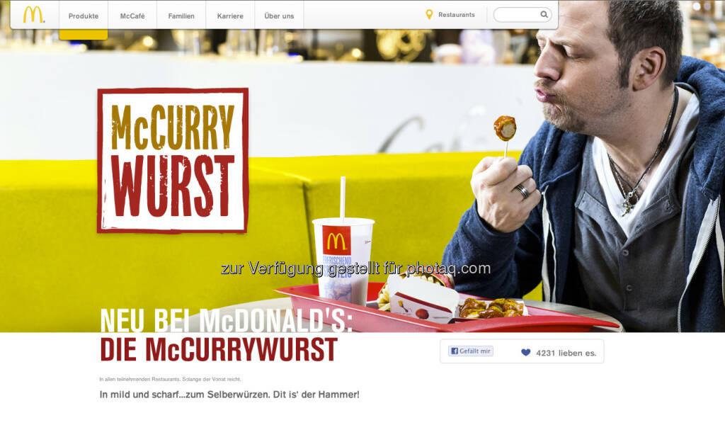 McDonalds hat in Deutschland einen McCurrywurst - ein McDebreziner wäre für die Wiener Finanzbranche sicher ein Kultmittagessen ... (c) McDonalds (24.02.2013)