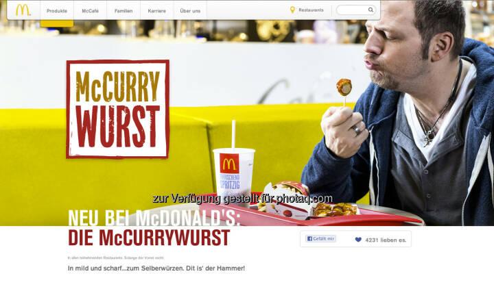 McDonalds hat in Deutschland einen McCurrywurst - ein McDebreziner wäre für die Wiener Finanzbranche sicher ein Kultmittagessen ... (c) McDonalds