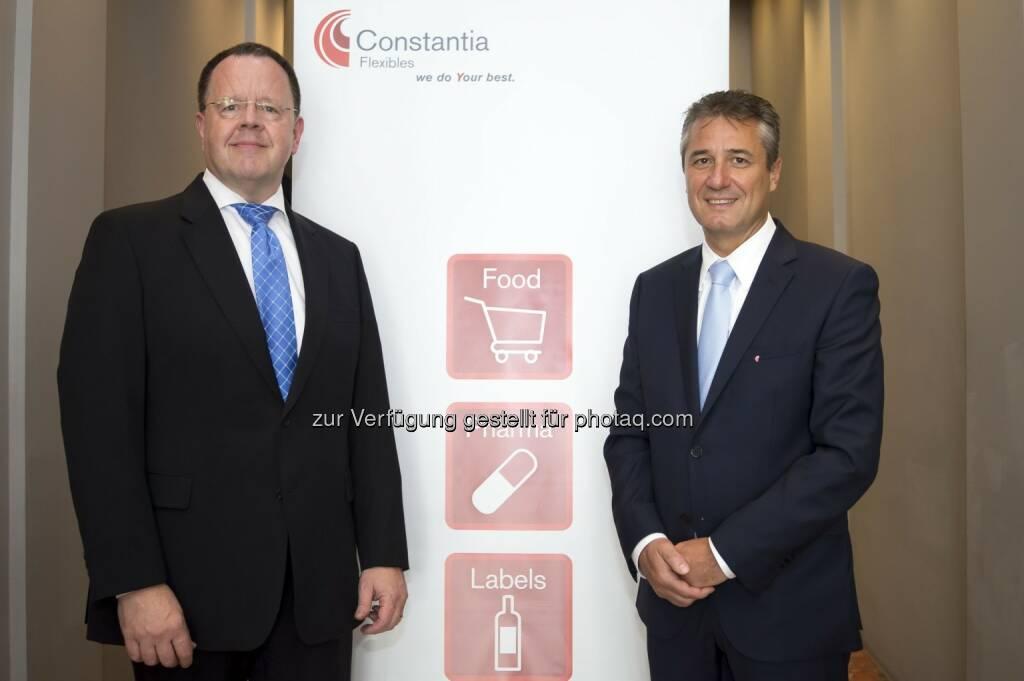 Thomas Unger, CEO Constantia Flexibles Group und Peter Frauenknecht, CFO Constantia Flexibles Group: Constantia Flexibles verzeichnet Rekordjahr in 2014, © Aussender (27.04.2015)