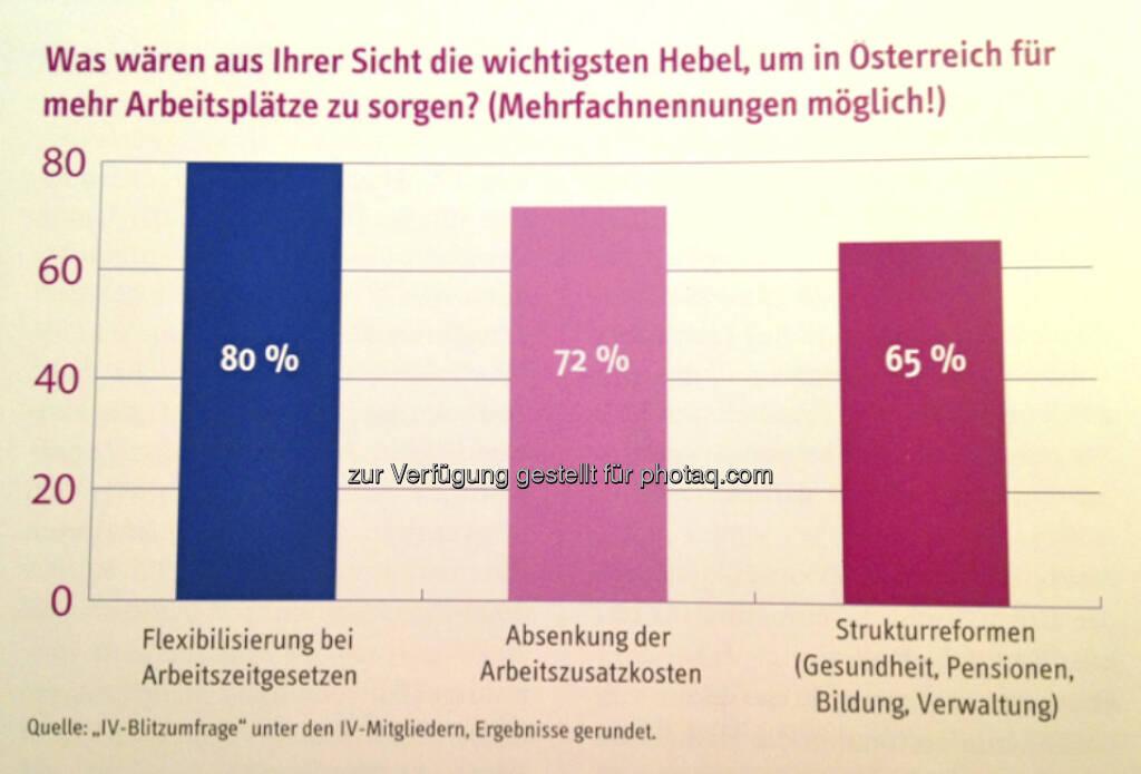 Was wären aus Ihrer Sicht die wichtigsten Hebel, um in Österreich für mehr Arbeitsplätze zu sorgen?, © IV (24.02.2013)