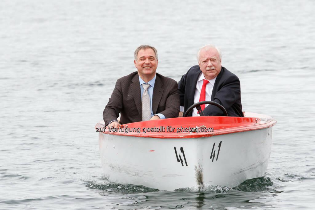Bürgermeister Michael Häupl und Wirtschaftskammer Wien-Präsident Walter Ruck: Wirtschaftskammer Wien: Ruck/Häupl: Offizieller Saisonstart an der Alten Donau (04.05.2015)