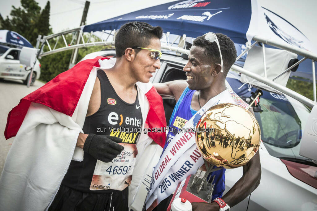 Remigio Huaman congrats  winner Lemawork Ketema after  the Wings for Life World Run in St. Poelten, Austria on May 3rd, 2015. // Philip Platzer for Wings for Life World Run // Please go to www.redbullcontentpool.com for further information. // , © © Red Bull Media House (04.05.2015)