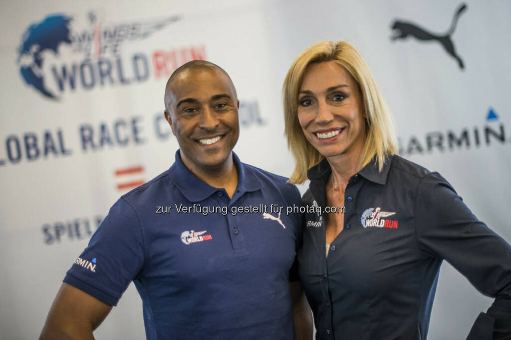 Wings for Life CEO Anita Gerhardter (L) of  Austria and Wings for Life World Run Race Director Colin Jackson (R) of Great Britain Please go to www.redbullcontentpool.com for further information. // , © © Red Bull Media House (04.05.2015)