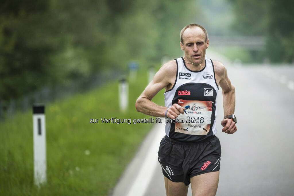 Wolfgang Wallner runs during the Wings for Life World Run in St. Poelten, Austria on May 3rd, 2015. // Philip Platzer for Wings for Life World Run //Please go to www.redbullcontentpool.com for further information. // , © © Red Bull Media House (04.05.2015)