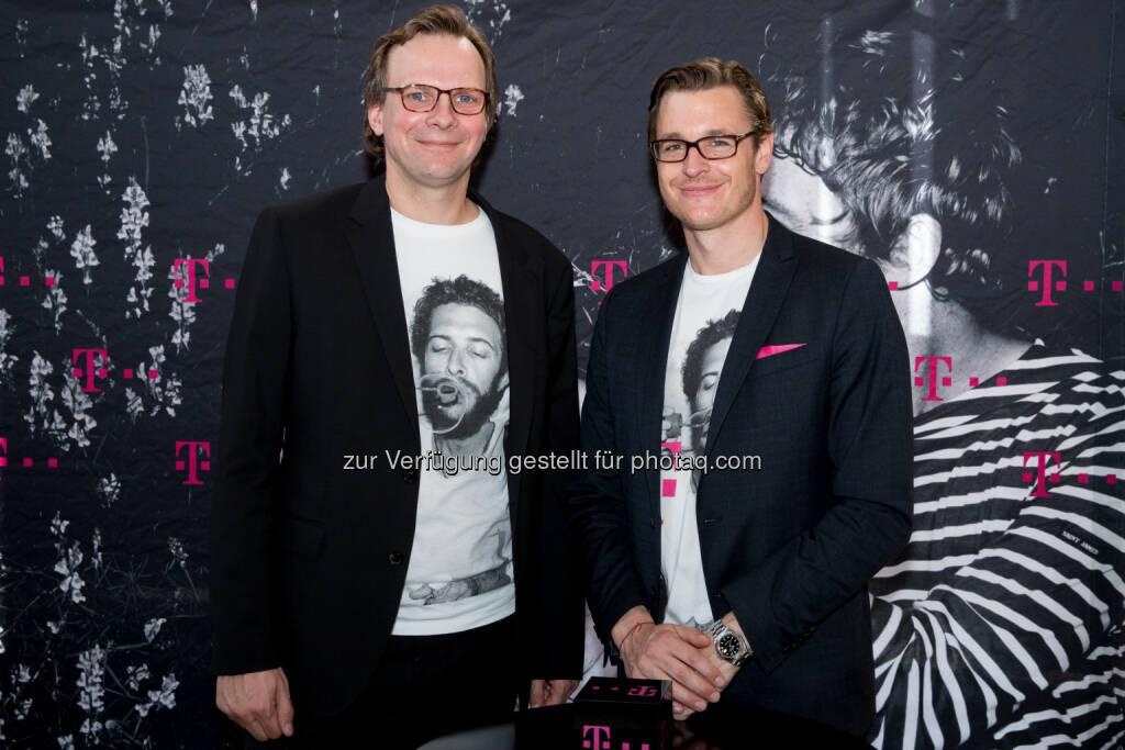 Andreas Bierwirth, CEO T-Mobile, und Thomas Kicker, CCO T-Mobile: T-Mobile: Wie-Ich-Will 4.0: T-Mobile stellt sich mit Test dem ultimativen LTE-Netztest, © Aussendung (05.05.2015)