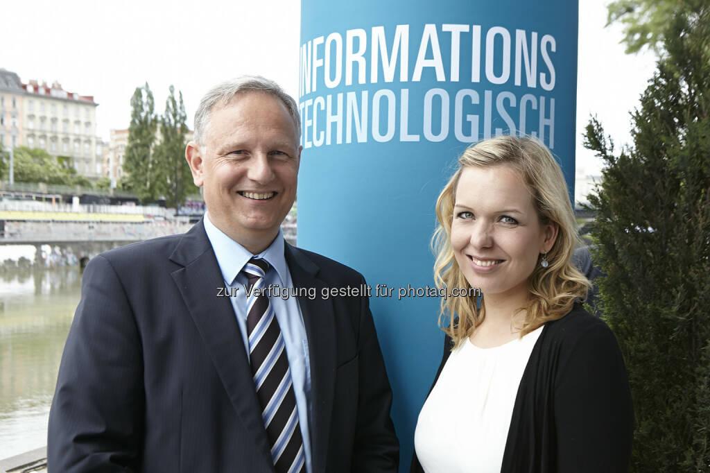 Alexander Falchetto (APA-IT) und Alexandra Grohmann (Trendone GmbH) gaben beim APA-IT-BusinessBreakfast Antworten auf Fragen, die digitaler Wandel für Publisher aufwirft, © Aussendung (07.05.2015)