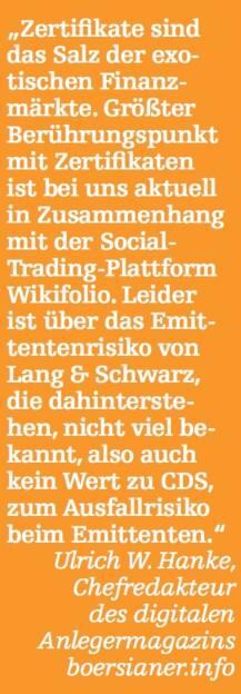 Ulrich W. Hanke, Chefredakteur des digitalen Anlegermagazins boersianer.info (07.05.2015)