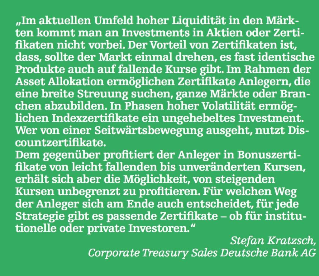 Stefan Kratzsch, Corporate Treasury Sales Deutsche Bank AG (07.05.2015)