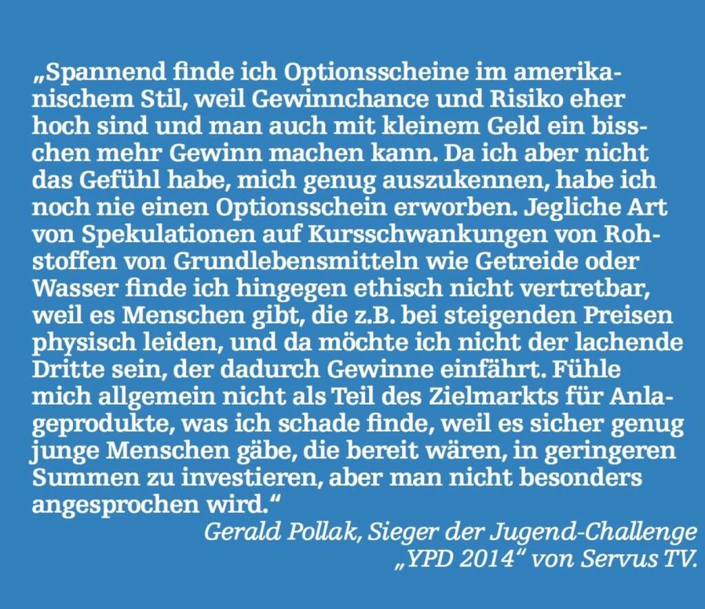 """Gerald Pollak, Sieger der Jugend-Challenge """"YPD 2014"""" von Servus TV. (07.05.2015)"""