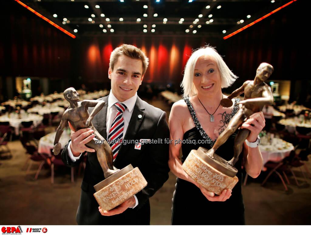 Sportsman of the year Vinzenz Hoeck (AUT) and Sportswoman of the year Daniela Iraschko-Stolz (AUT). Photo: Gepa pictures/ Markus Oberlaender, © Gepa (08.05.2015)