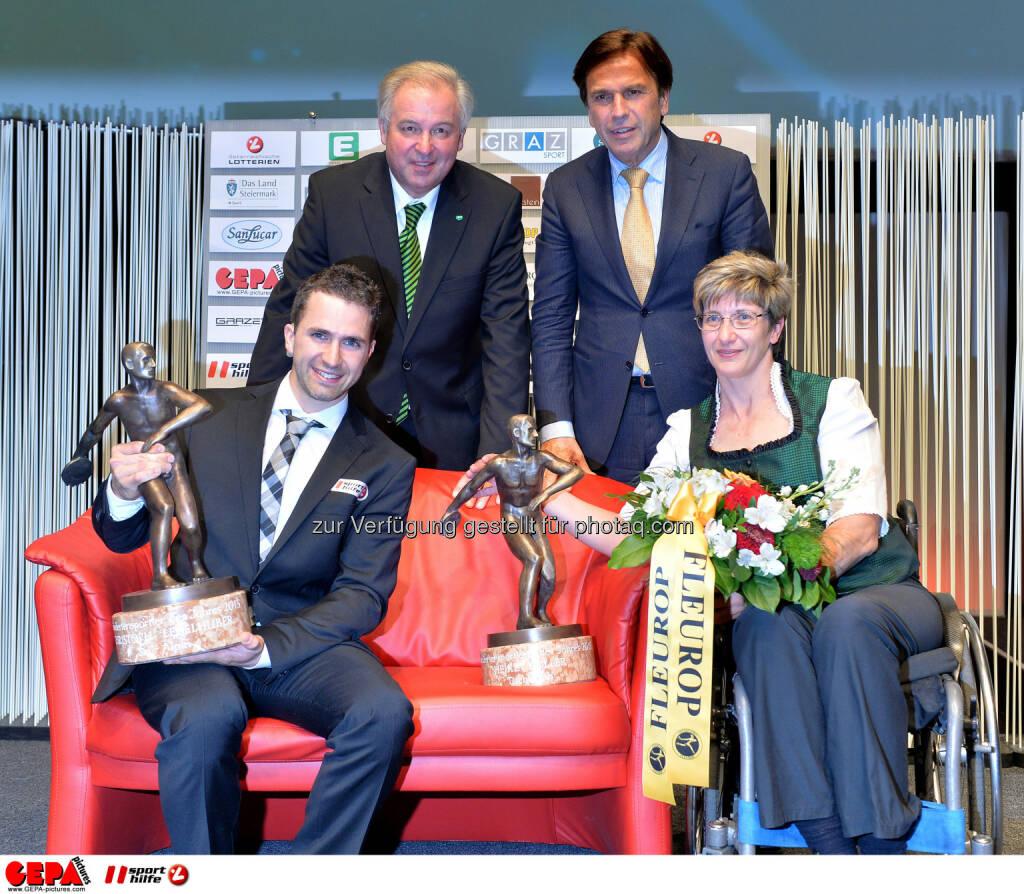 Deputy governor Hermann Schuetzenhoefer, governor Franz Voves, disabled athlete of the year Christoph Lebelhuber (AUT) and disabled athlete of the year Heike Koller (AUT).  Photo: Gepapictures/ Michael Riedler, © Gepa (08.05.2015)