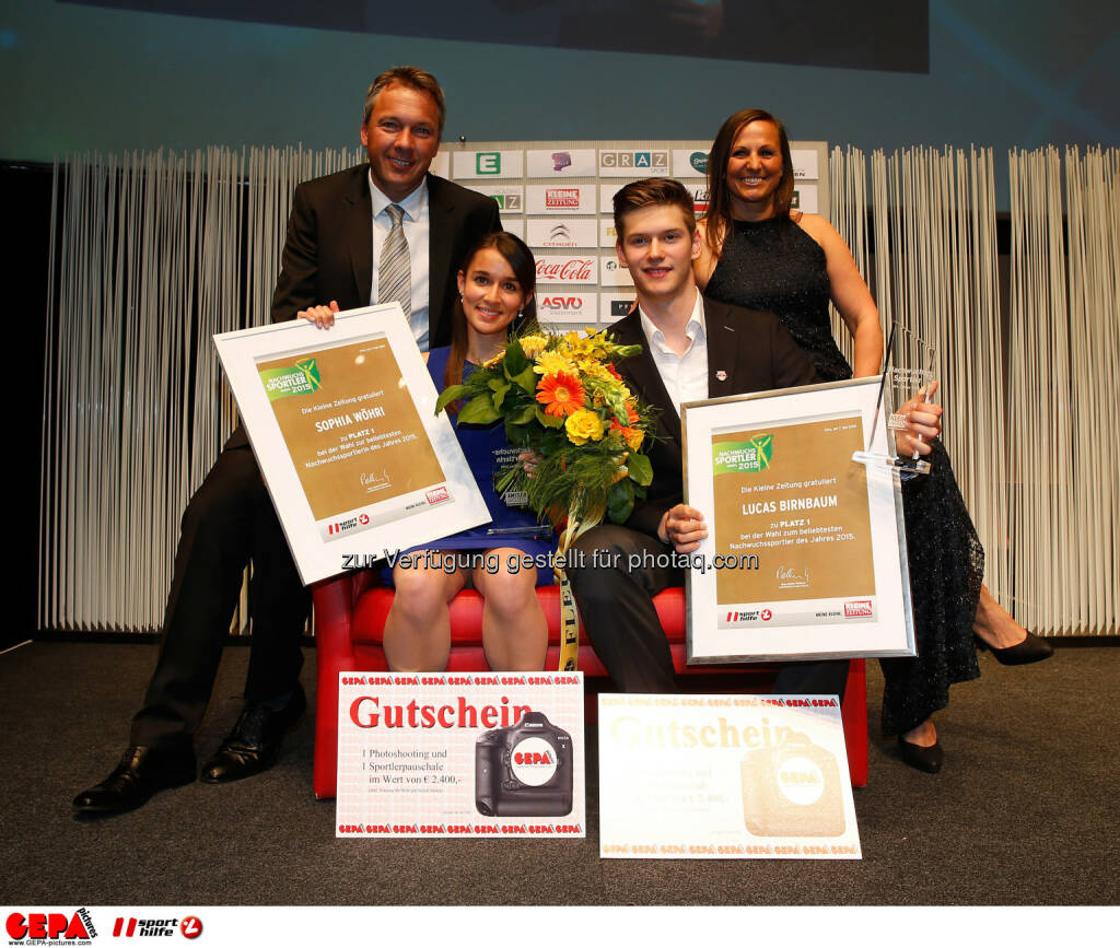 Fritz Strobl, up-and-coming Sportswoman of the year Sophia Woehri, up-and-coming Sportsman of the year Lucas Birnbaum and Claudia Riegler. Photo: Gepa pictures/ Markus Oberlaender, © Gepa (08.05.2015)