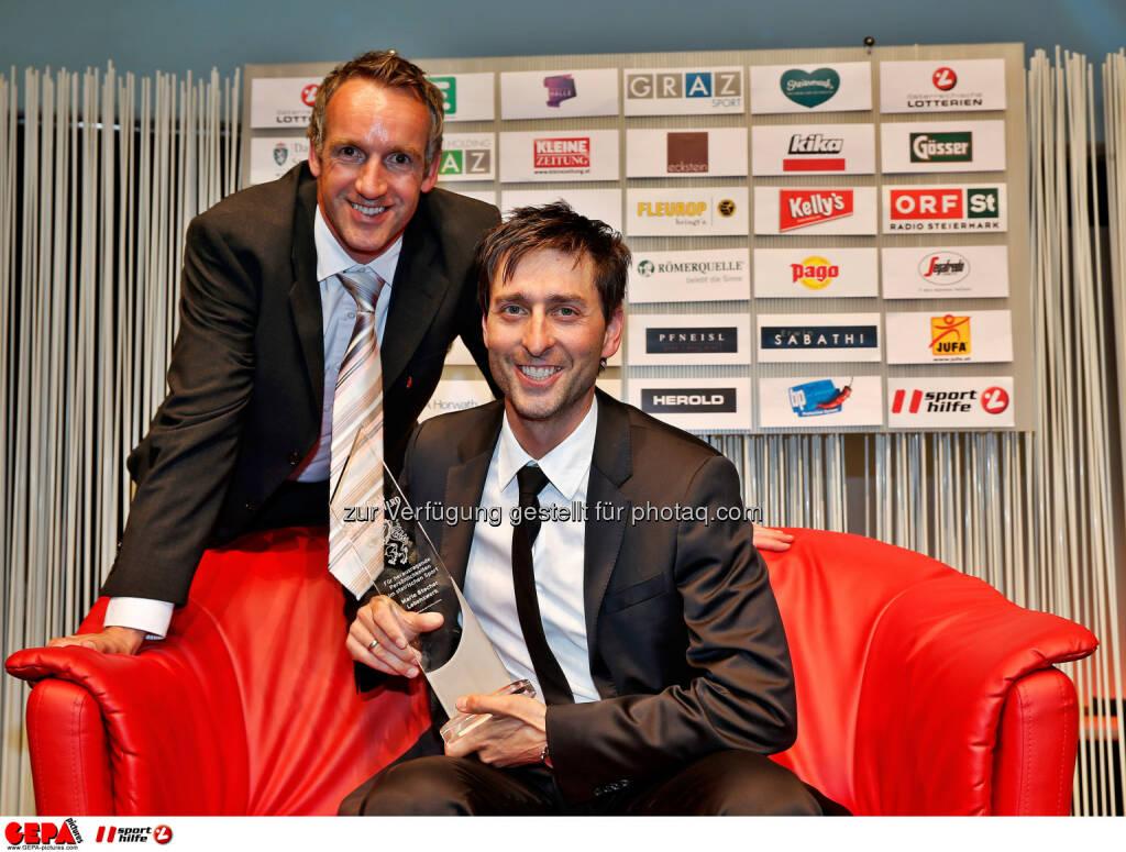 Christoph Sumann and Styrian Sports Award winner Mario Stecher Photo: Gepa pictures/ Markus Oberlaender, © Gepa (08.05.2015)