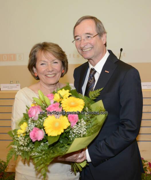 WKNÖ-Präsidentin Sonja Zwazl und WKÖ-Präsident Christoph Leitl: Wirtschaftskammer NÖ: Zwazl für die nächsten fünf Jahre als WKNÖ-Präsidentin bestätigt (09.05.2015)