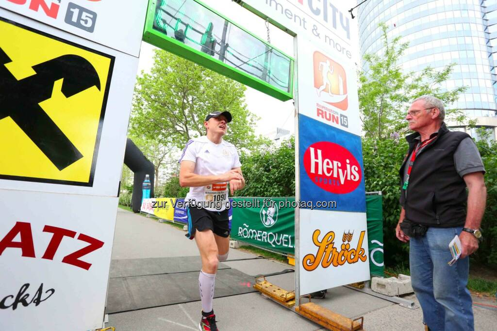 Grzegorz Ziola, 3. Platz Herren Millennium City Run 2015 über die 5km Distanz, © leisure.at/Ludwig Schedl (10.05.2015)