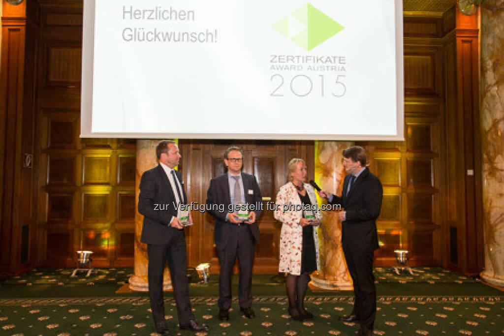 Zertifikate Award 2015 - Frank Weingarts, Markus Kaller, Heike Arbter, Lars Brandau, © ViennaShots - professional photographers, Andreas Pecka (11.05.2015)