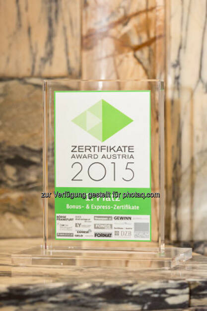 Zertifikate Award 2015 - Trophäe Bonus & Express-Zertifikate, © ViennaShots - professional photographers, Andreas Pecka (11.05.2015)