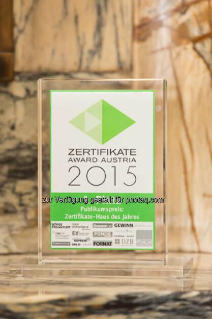Zertifikate Award 2015 - Trophäe Publikumspreis, © ViennaShots - professional photographers, Andreas Pecka (11.05.2015)