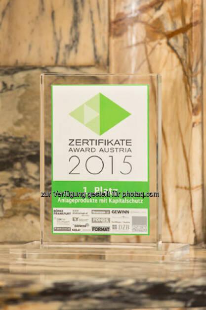 Zertifikate Award 2015 - Trophäe Kapitalschutz, © ViennaShots - professional photographers, Andreas Pecka (11.05.2015)