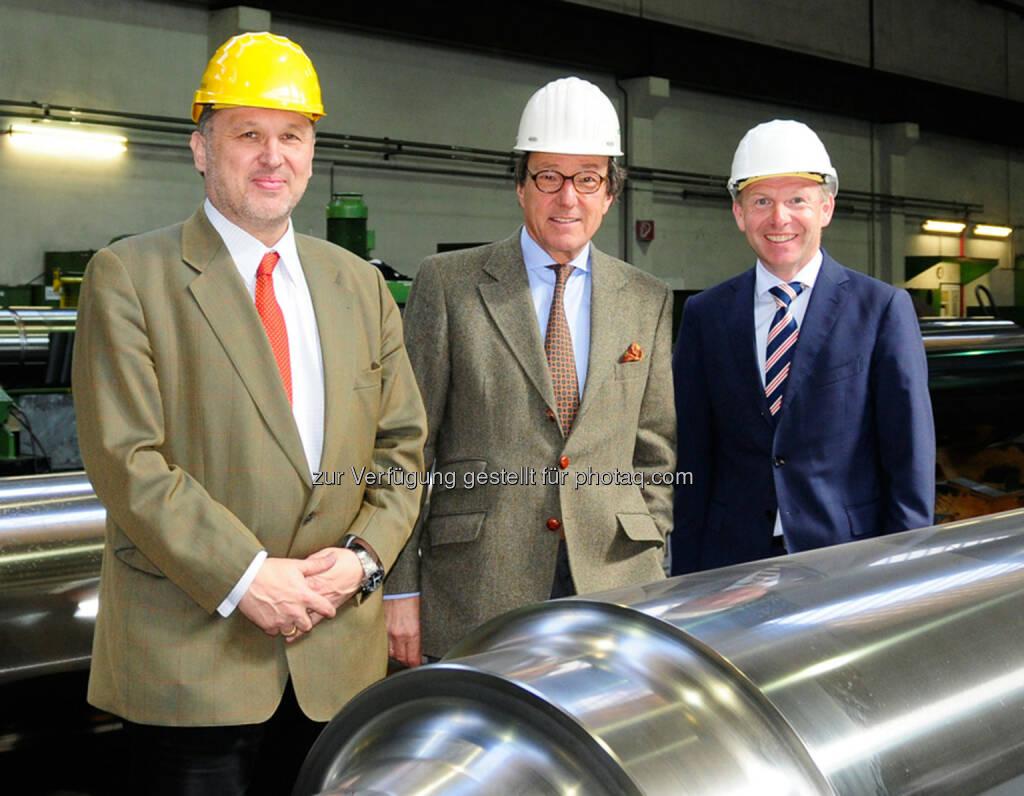 Bernhard Wicho, Vorsitzender Rudolf Weinberger und Georg Hemetsberger: Der neue Vorstand im Eisenwerk Sulzau-Werfen, © Aussender (12.05.2015)