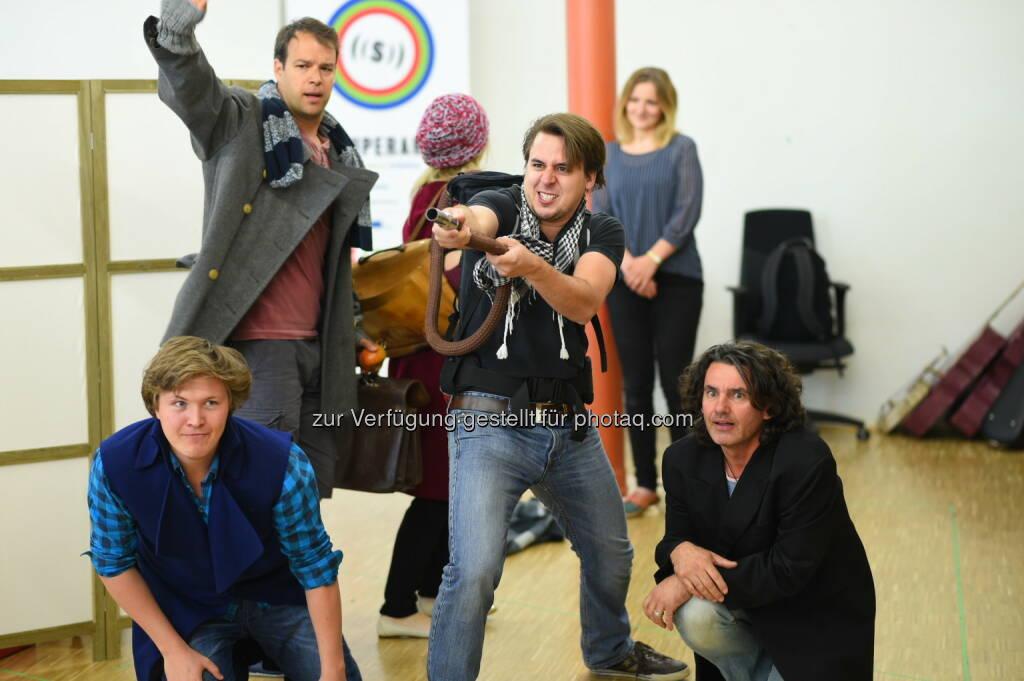 Matthias Hoffmann (Räuber), Szabolcs Brickner (Kay), Christoph Filler (Räuber), Alexander Kaimbacher (Räuber): Arenaria GmbH: Probenstart für Die Schneekönigin im Schloss Esterhazy in Eisenstadt, © Aussendung (12.05.2015)
