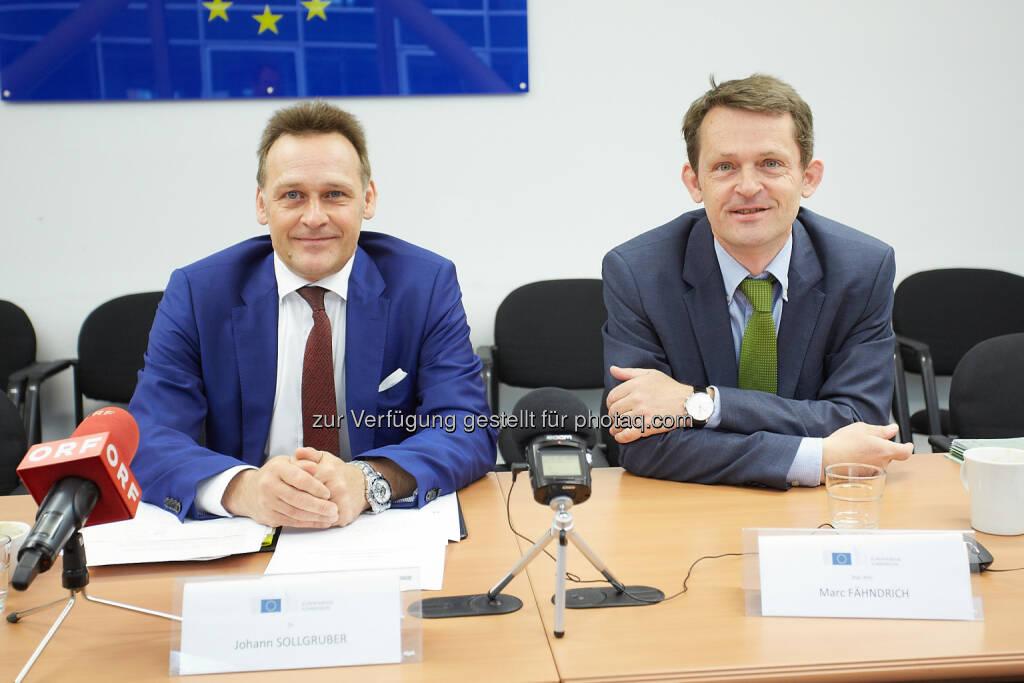 Johann Sollgruber, Leiter der Vertretung der Europäischen Kommission a.i. und Marc Fähndrich, zuständig für wirtschaftspolitische Koordinierung und Europäisches Semester in Österreich: Vertretung der EU-Kommission in Österreich: EU-Kommission: Österreich verliert an Terrain - Strukturreformen könnten notwendiges Wachstum schaffen (15.05.2015)
