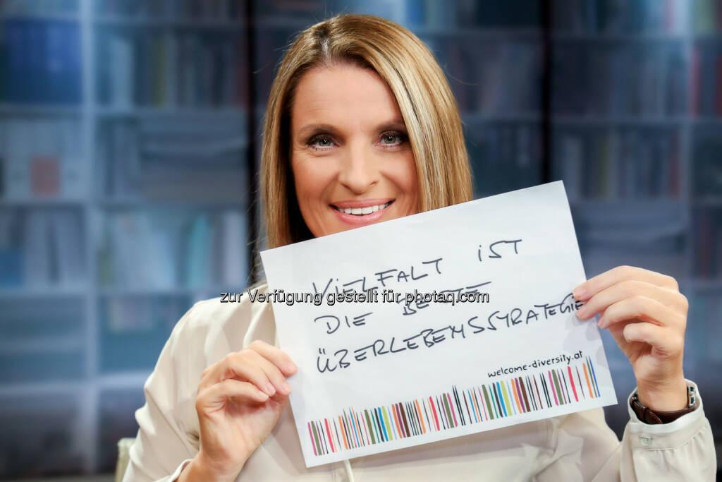 Barbara Stöckl und ihr Statement für Vielfalt: Interkulturelles Zentrum: Vielfalt, ja bitte! Prominente Unterstützung für Welcome Diversity-Kampagne, © Aussender (18.05.2015)