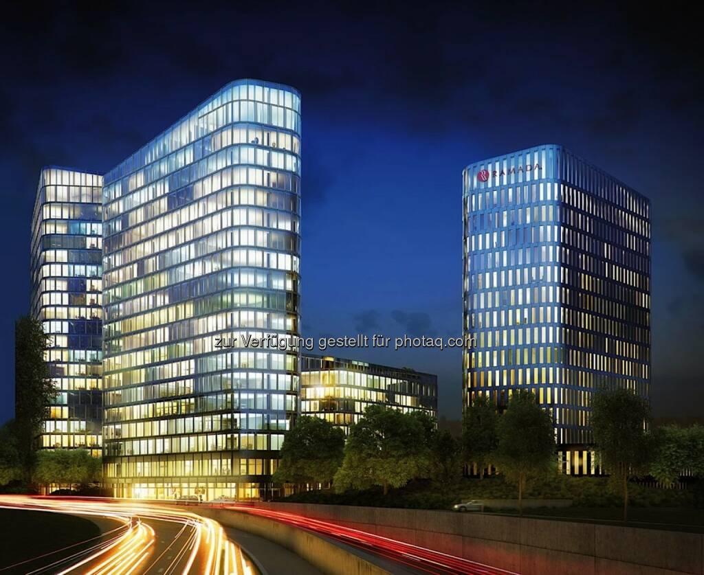 """Bavaria Towers - Die Von der Heyden Gruppe und die Porr AG geben die Unterzeichnung des Bauvertrags für den Blue Tower und den White Tower als Teil eines der spektakulärsten Development-Projekte in der bayerischen Hauptstadt, dem """"Bavaria Towers"""" Ensemble in strategischer Lage in München, bekannt. Das geschätzte Gesamtinvestment für beide Türme beläuft sich auf EUR 160 Mio (Bild: Bogenhausener Tor Immobilien GmbH) , © Aussender (19.05.2015)"""