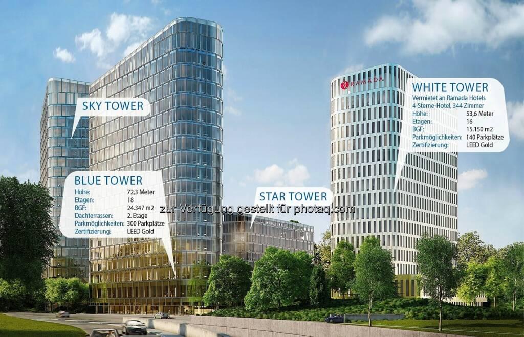 """Blue Tower, White Tower, Bavaria Towers - Die Von der Heyden Gruppe und die Porr AG geben die Unterzeichnung des Bauvertrags für den Blue Tower und den White Tower als Teil eines der spektakulärsten Development-Projekte in der bayerischen Hauptstadt, dem """"Bavaria Towers"""" Ensemble in strategischer Lage in München, bekannt. Das geschätzte Gesamtinvestment für beide Türme beläuft sich auf EUR 160 Mio (Bild: Bogenhausener Tor Immobilien GmbH), © Aussender (19.05.2015)"""
