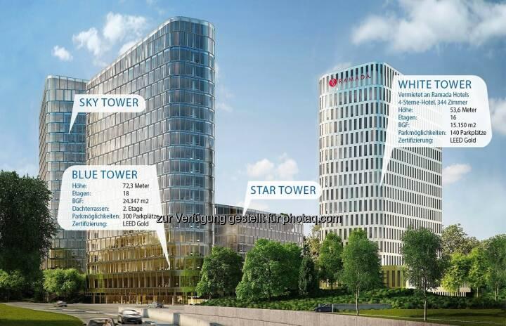 """Blue Tower, White Tower, Bavaria Towers - Die Von der Heyden Gruppe und die Porr AG geben die Unterzeichnung des Bauvertrags für den Blue Tower und den White Tower als Teil eines der spektakulärsten Development-Projekte in der bayerischen Hauptstadt, dem """"Bavaria Towers"""" Ensemble in strategischer Lage in München, bekannt. Das geschätzte Gesamtinvestment für beide Türme beläuft sich auf EUR 160 Mio (Bild: Bogenhausener Tor Immobilien GmbH)"""