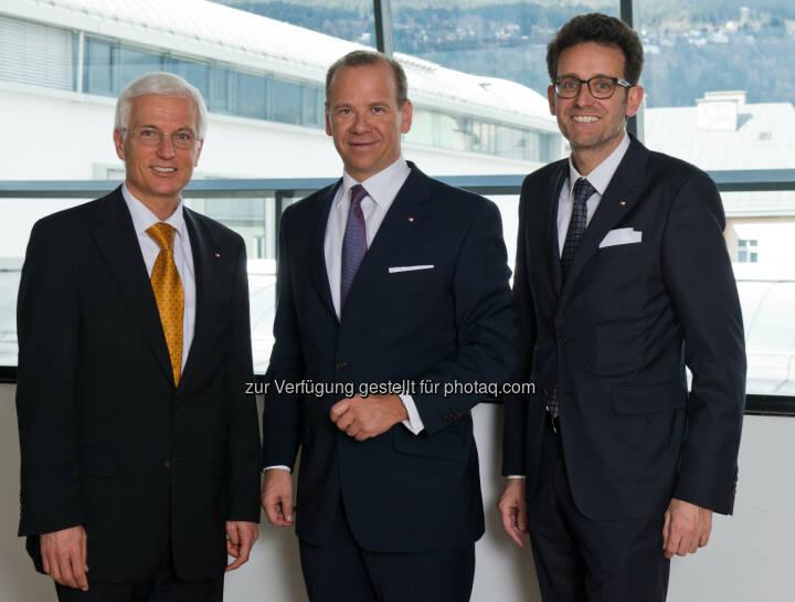 Matthias Moncher, Peter Gaugg und Gerhard Burtscher (v.l.n.r., BTV Vorstände ) - Vertrauen in die BTV steigt weiter (Bild: Martin Vandory)