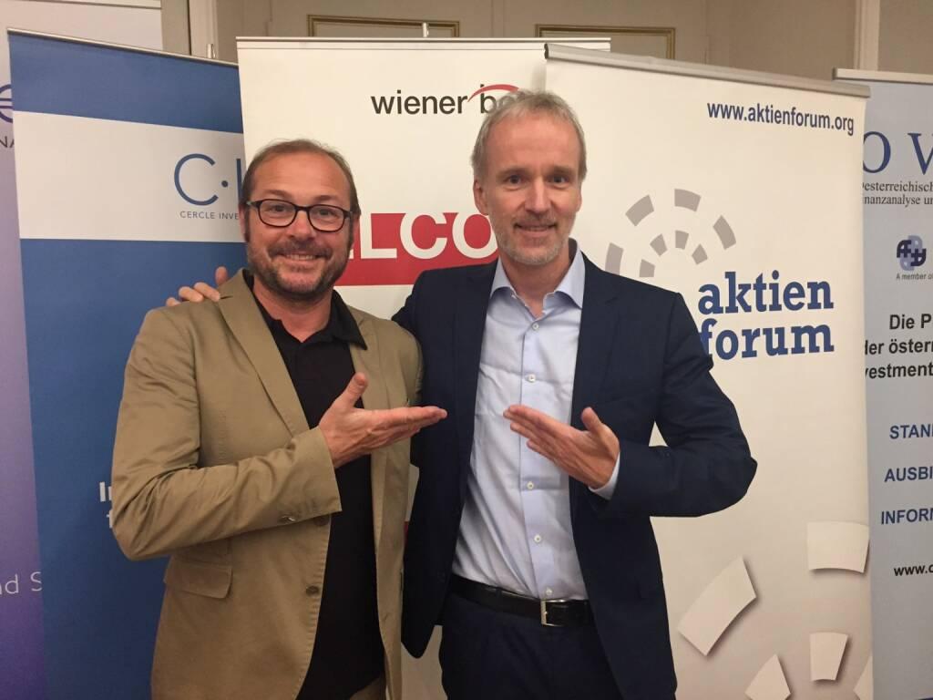 Richard Tanzer, Christian Drastil - Ex-WirtschaftsBlatt-Kollegen beim Wiener Börsepreis (20.05.2015)
