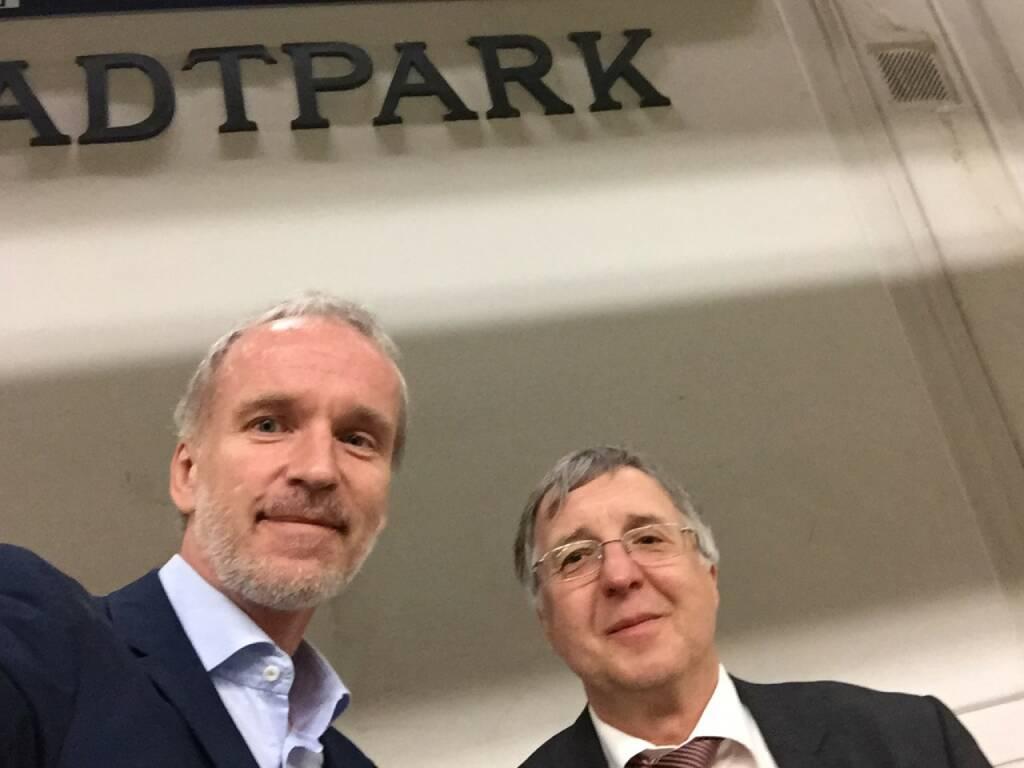 Christian Drastil mit Herrn Berger, einem geschätzten und bei Unternehmen bisweilen auch gefürchteten Anleger (20.05.2015)