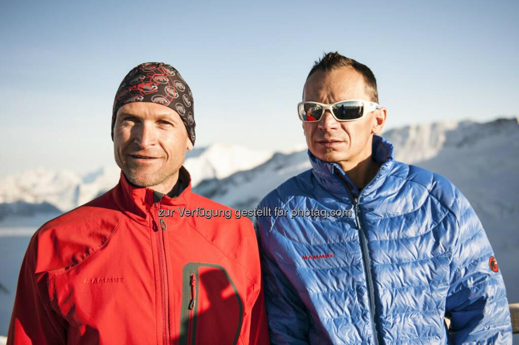 Der Mammut Pro Team Athlet Beni Hug besteigt zusammen mit dem französischen Skibergsteiger Tony Sbalbi auf Tourenskis alle sieben Viertausender des Aletschgebietes in nur 20 Stunden. Beni und Tony schaffen mit den insgesamt 7000 Höhenmetern und der Strecke von rund 65km eine persönliche Höchstleistung. (Bild: Mammut Sports Group AG/Christian Gisi), © Aussendung (20.05.2015)
