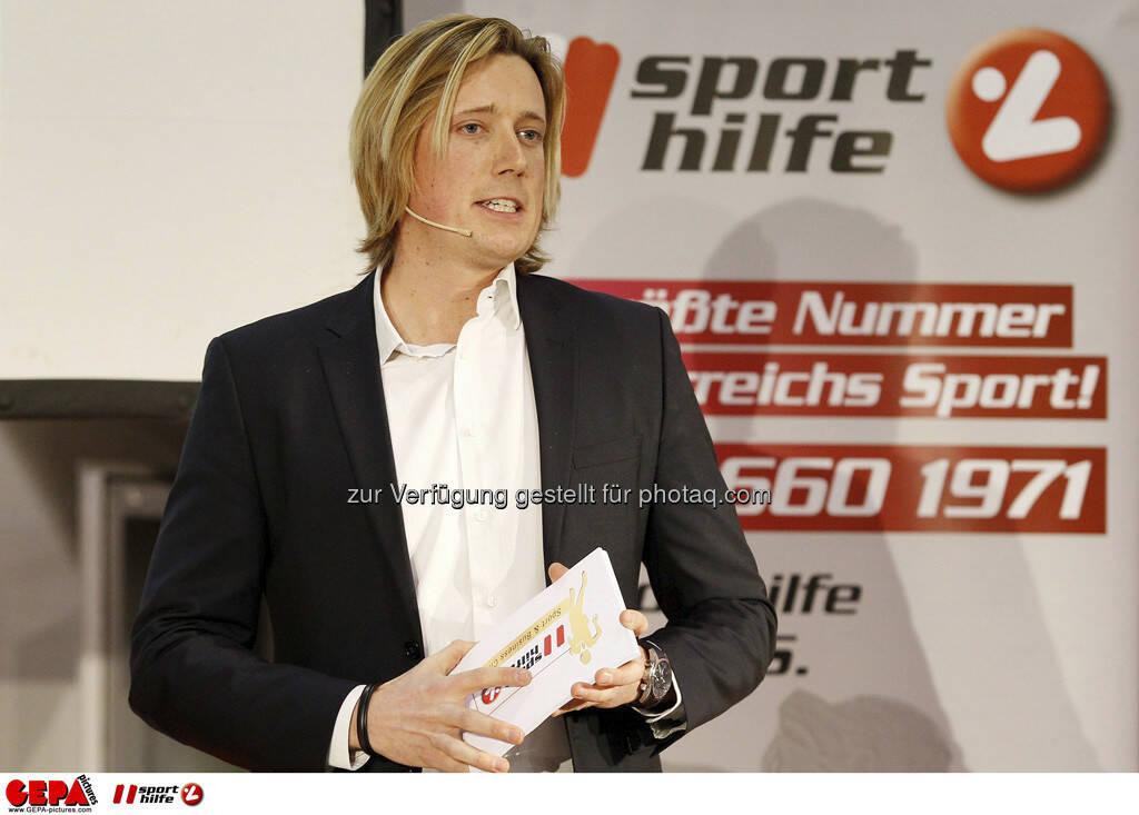 Moderator Alexander Raffeiner. Foto: GEPA pictures/ Mathias Mandl, © GEPA/Sporthilfe (28.02.2013)