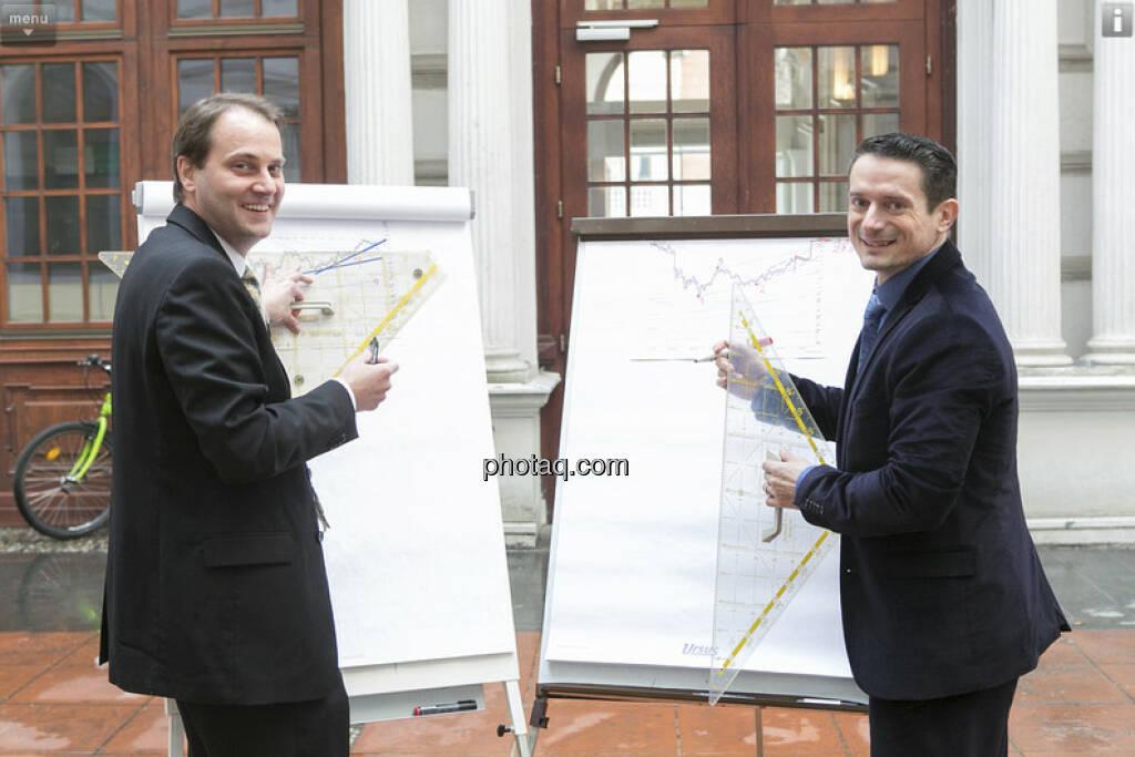 Christoph Schultes (Erste Group) und Robert Schittler (Raiffeisen) - Chartechnik / Research für das Fachheft (c) Martina Draper (01.03.2013)