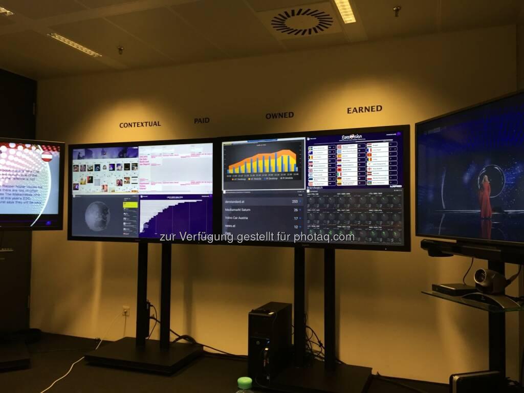 Big Data ist neue Wahlprognose - mehrfach mit Dashboards besetzte Bildschirme ermöglichen den Überblick über Datenentwicklungen kommend aus dem Marketing-Echosystem der Contextual, Paid, Owned und Earned-Kanälen (Bild: Mindshare), © Aussendung (28.05.2015)