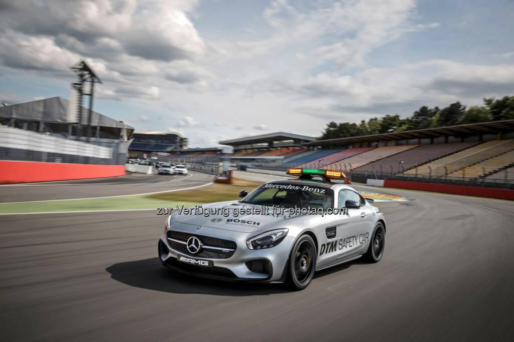 Mercedes-AMG GT S als offizielles Saftey Car der DTM 2015: DTM-Premiere für ein neues Safety Car: Beim zweiten DTM-Lauf am Lausitzring (29. bis 31. Mai 2015) wird erstmals der Mercedes-AMG GT S zum Einsatz kommen., © Aussendung (28.05.2015)