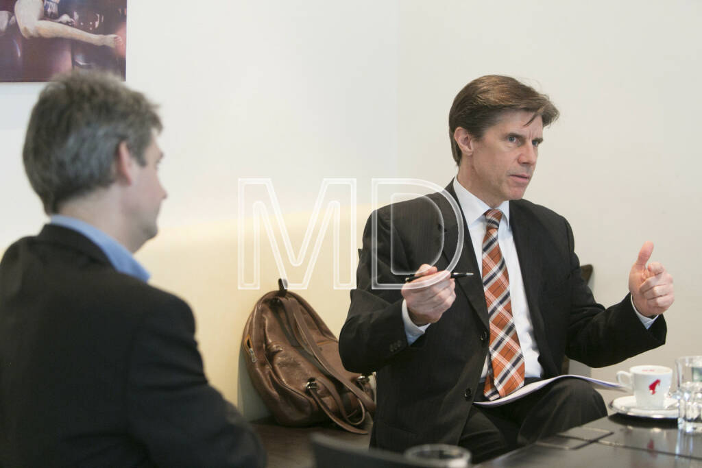 Michael Trcka (CFO WEB Windenergie), Manfred Totzauer (Vorstand WM AG), © Martina Draper für BE (01.03.2013)
