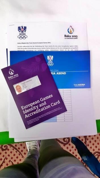 Akkreditierung Elisabeth Niedereder für die European Games in Baku 2015 (30.05.2015)