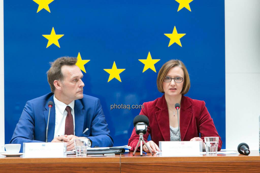 Johann Sollgruber (Leiter der Vertretung der EU-Kommission in Ö), Gabriele Zgubic (AK Wien), © photaq/Martina Draper (01.06.2015)
