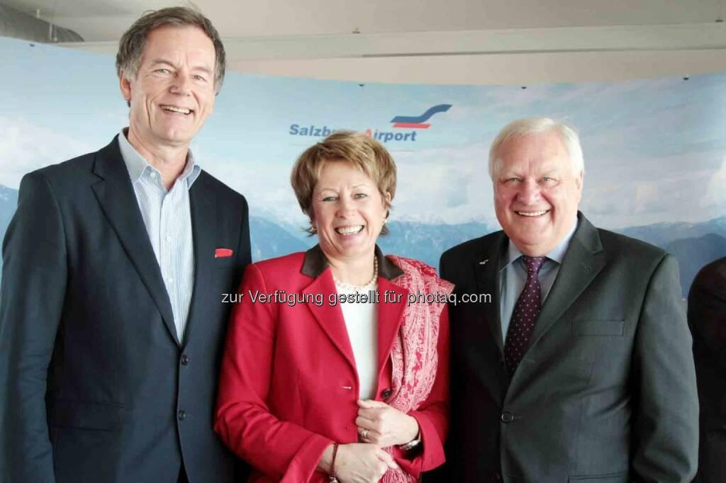 Geschäftsführer Roland Hermann, Vizepräsidentin Andrea Stifter, Flughafengeschäftsführer Karl Heinz Bohl  (Bild: Salzburger Flughafen) (05.03.2013)