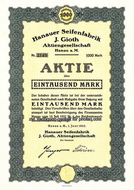 Aktie Hanauer Seifenfabrik, © Uli Hanke (02.06.2015)