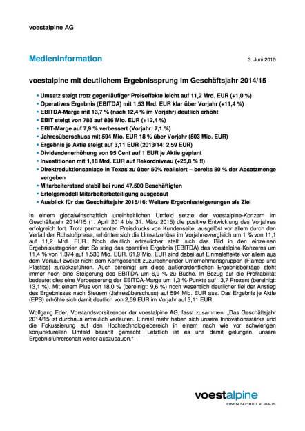 voestalpine mit deutlichem Ergebnissprung im Geschäftsjahr 2014/15, Seite 1/6, komplettes Dokument unter http://boerse-social.com/static/uploads/file_74_voestalpine_gj_201415.pdf (03.06.2015)