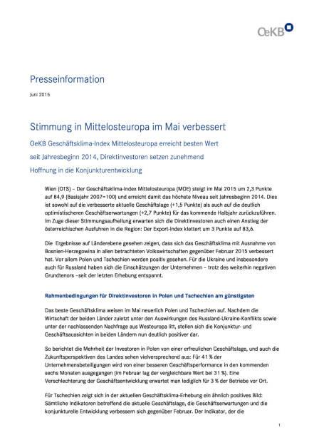 OeKB Geschäftsklima-Index Mittelosteuropa, Seite 1/4, komplettes Dokument unter http://boerse-social.com/static/uploads/file_76_oekb_geschaftsklima-index.pdf (03.06.2015)