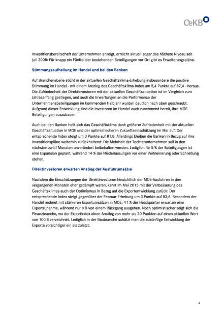 OeKB Geschäftsklima-Index Mittelosteuropa, Seite 2/4, komplettes Dokument unter http://boerse-social.com/static/uploads/file_76_oekb_geschaftsklima-index.pdf (03.06.2015)
